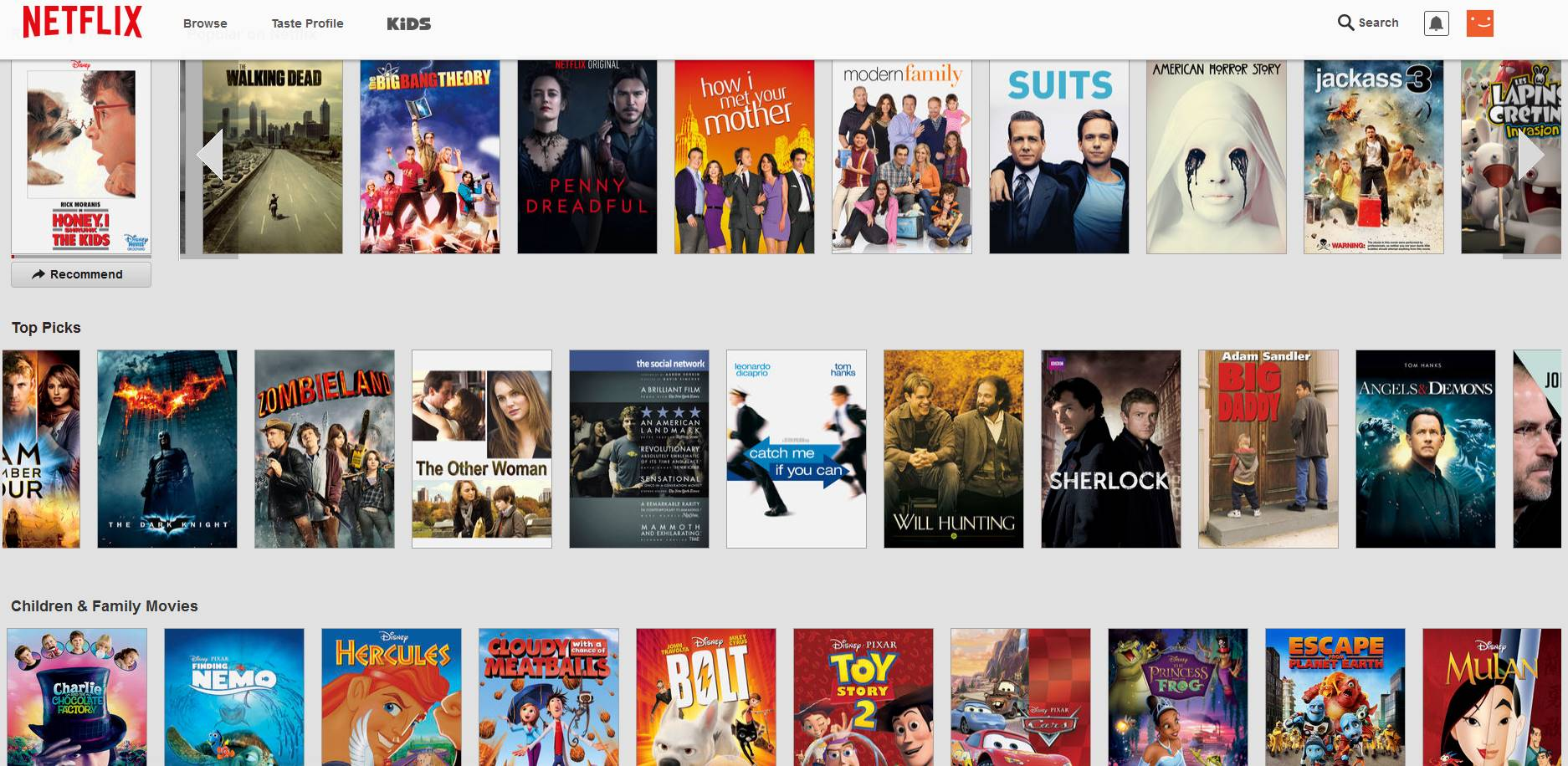 NETFLIX CATALOGUE LIST